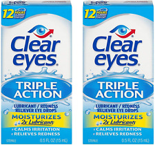 Clear Eyes Triple Action Relief Eye Drops | 0.5-Ounces | 2-Pack