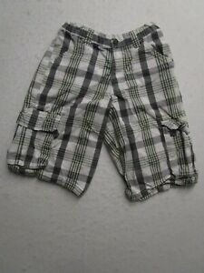 Wrangler Womens 12 White Plaid Cargo Shorts Pockets Relaxed Fit Nice Casual