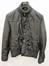 HUGO BOSS BLACK NYLON insulated zip front high knit collar BOMBER COAT mens 42R