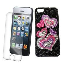 Iphone 5 5S 5G Love Print Bling Rhinestone Diamond Crystal Diamonte Case UK