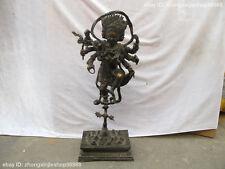 """23""""Tibet Buddhism Fane bronze 8 arm vsnisavijava Mahakala Tantric buddha statue"""