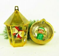 Vintage Jewelbrite Ornaments Yellow Hard Plastic Diorama Bells Elf
