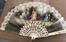 Vintage Folding Fan with Colonial Figural Scene