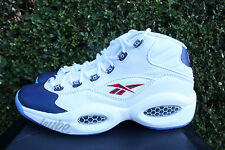 REEBOK QUESTION MID SZ 8 PEARLIZED NAVY BLUE TOE WHITE RED IVERSON J82534