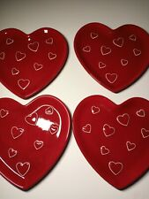 4 Heart Shaped Snack Plates Saucers 8.5in Kohl's