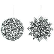 2 Festa Di Natale Elegante Grigio Fiocchi Di Neve Appeso Tree Decorazioni Ornamenti