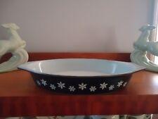 vintage retro pyrex black snowflakes oval baking casserole dish