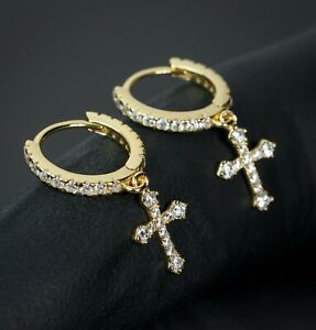 2pc 14K Gold 925 Sterling Silver Dangle Cross Drop Huggie Hoop Earrings For Men