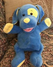 "HTF 12"" Baby Game PUPPET PUPPY DOG RATTLE Blue Yellow Plush #Q4"