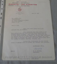 1964 CFL Montreal Alouettes Signed Letter by President M.E.Workman on Letterhead