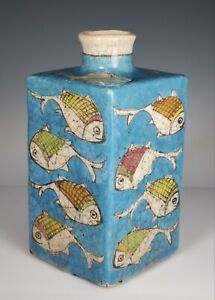 Iznik Persian Islamic Pottery Bottle Vessel Turquoise Blue w/ Fish Decoration