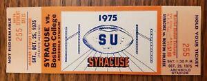 Syracuse Orange Boston College Football FULL Ticket 10/25 1975 Mike Kruczek Stub