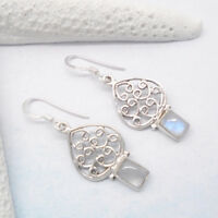 Mondstein blau weiß eckig Design Ohrringe Ohrhänger 925 Sterling Silber neu