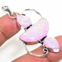"""Tripelet Fire Opal Handmade Ethnic Style Jewelry Pendant 2.36 """"  AA-330"""