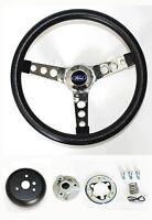 """1970-1979 Ranchero Pinto Grant Black & Chrome Steering Wheel 13 1/2"""" Horn Kit"""