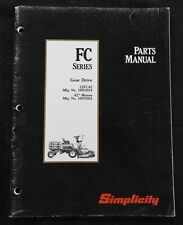 """SIMPLICITY FC SERIES FRONT MOWER GEAR DRIVE 42"""" DECK PARTS CATALOG MANUAL NICE"""