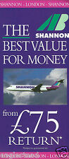 Airline Timetable - AB - Shannon - c11/95 - Issue 1 - BAC 1-11 G-AVMT