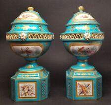Antique Pair Sevres Bleu Celeste Blue Pot-Pourri Urns ca1759 Porcelain RESTORED