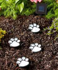 Set of 4 Solar Powered Lighted Puppy Dog Paw Print Garden Statue Decor