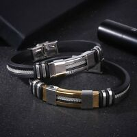 Men Fashion Jewelry Stainless Steel Silicone Vintage Band Bracelets Bangle New