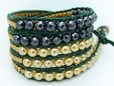 5 Wrap Bracelet GLASS PEARL beads HEMATITE BEADS GREEN LEATHER adjustable size