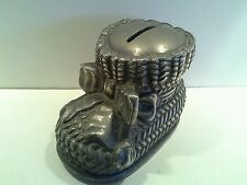 Antique SilverPlate Baby Boot with Bow Money Box