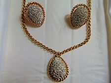 Vintage Marvella Gold Tone Clear Rhinestone Necklace & Clip On Ear-Ring Set