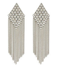 CLIP ON EARRINGS - silver earring with crystals and chain fringe - Carys W