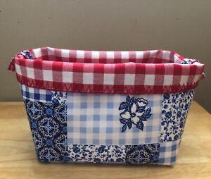 Pioneer Woman Heritage Floral Handmade Storage Basket Foldable Made New