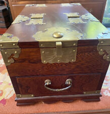 Vintage Wooden Asian TableTopTravel Jewelry Chest; Stand-up Mirror One Drawer