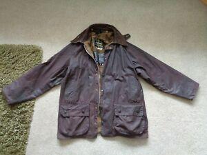 Men's  Barbour Beaufort Waxed Wax Jacket Coat Brown A109 Size C44 /112cm Large