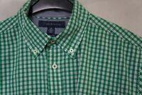 Men's TOMMY HILFIGER Short Sleeve Cotton Shirt Classic Fit Green Size M Medium