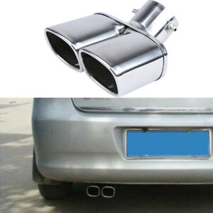 "63mm/2.5"" Stainless Steel Chrome Auto Dual Exhaust Tip Square Tail Pipe Muffler"