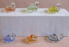 6 CUTE MINIATURE CRYSTAL/GLASS Tortoises Each one is a different colour