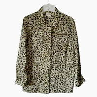 Chicos Womens Jacket Coat Ivory Animal Print Zip Up Stretch Snaps Medium NWOTs
