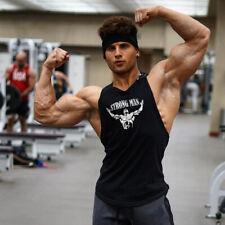 Hombres Gimnasio Músculo Culturismo Fitness Sin Mangas Chaleco Algodón Atlético Camiseta sin mangas