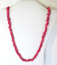 "Pink Coral Natural Chip Beads Strand 33"" Long Necklace. NWT.  PPCL"