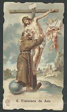 Estampa antigua de San Francisco Asis andachtsbild santino holy card santini