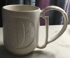 """Pottery Barn A-Z Mugs - White """"D"""" Initial Modern Coffee Latte Cocoa Cup 4""""x6"""""""