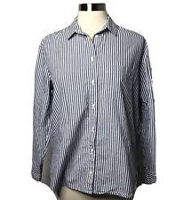 Madewell Sz Medium Oversized Striped Button Front Shirt Blue Top Long Sleeve