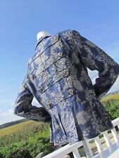 NEW M PYRAMID COLLECTION jacket blazer coat blue paisley brocade peplum military