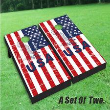 USA American Flag Wood Patriotic Cornhole Wrap Bag Toss Skin Decal Sticker Wraps