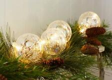 String of 4 LED Clear Glass Ball Ornaments with 6 Hr Timer Christmas Decor