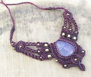 Macrame Necklace Pendant Jewelry Amethyst Cabochon Stone Handmade Bohemian z7