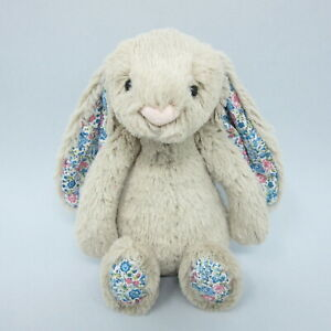 """Jellycat small Blossom Beige Bunny Rabbit blue floral ears comforter soft toy 8"""""""