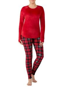 Women Large CLIMATE RIGHT Crew Neck Top Legging Pants Red Plaid Stretch Fleece