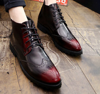 Formal Brogue Mens PU Leather Ankle Boot Shoes Oxford Wing Tip Carved Dress Pump