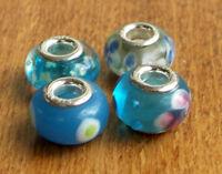 4 x Beads Sterlingsilber und Glasperle *** AUS ECHTEM SILBER und Glas, blau