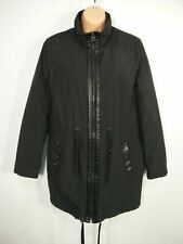 WOMENS TOPSHOP UK 10 CHARCOAL BLACK ZIP UP SHERPA LINED FITTED WARM PARKA COAT