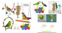 12 Pcs Bird Parrot Toys Hanging Bell Pet Cage Hammock Swing Climbing Ladders Toy
